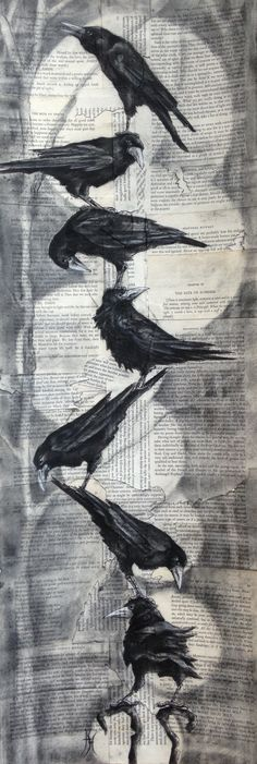 """Rook Stack II"" Charcoal on collaged card By artist Hannah Thomas"