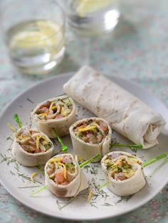 ciboulette, fromage frais, crevette rose, tortilla, avocat