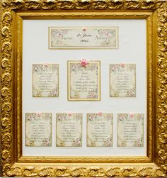 Vintage Wedding Table Plan in Ornate Gold Frame (Ref 129) Romantic Roses £100.00