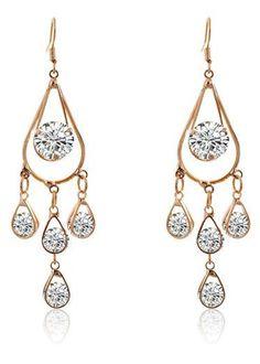 So Pretty! Pair of Gold Rhinestone Hollow Out Waterdrop Fashion Earrings #Gold #Rhinestone #Chandelier #Waterdrop #Earring #Fashion #Jewelry