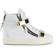 Giuseppe Zanotti Design Hi-Top Sneakers ($995) ❤ liked on Polyvore featuring shoes, sneakers, giuseppe, white sneakers, hi top wedge sneakers, velcro sneakers, wedge sneakers and wedges shoes