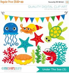 ON SALE - Crustaceans / Under the Sea (3) Clip Art / Digital Clipart - Instant Download