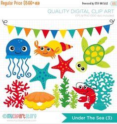 ON SALE - Crustaceans / Under the Sea (3) Clip Art / Digital Clipart - Instant Download