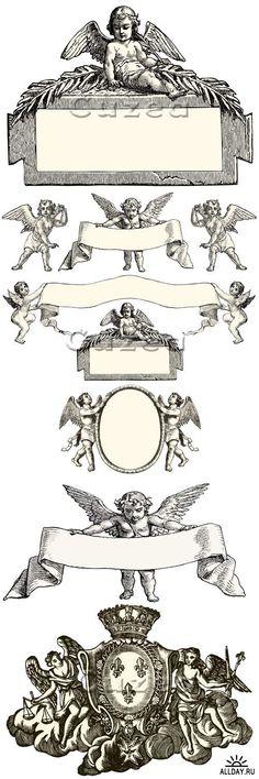 Винтажные векторные ангелы/ Vintage angels - vector stock