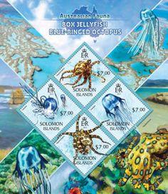 Solomon Islands stamps - 2013 Box Jellyfish Octopus