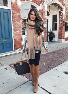 striped pullover with oversize scarf and legging fall outfit bmodish