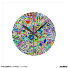 Psychedelic Shells Round Clock