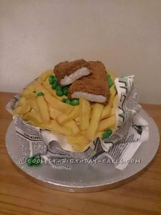 Coolest Fish 'n Chips Cake ...This website is the Pinterest of birthday cakes