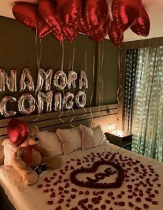 Wedding Night Room Decorations, Romantic Room Decoration, Birthday Room Decorations, Romantic Bedroom Decor, Balloon Decorations, Romantic Room Surprise, Romantic Night, Romantic Dinners, Anniversary Surprise