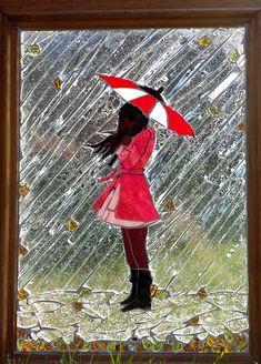 """NOVEMBER RAIN"" Glass on Glass Mosaic... WHY not SUMMER rain kids playing in rain splashing in puddles!!!"