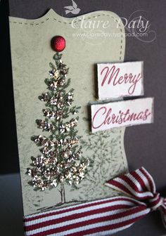 Stampin up lovely as a Tree Christmas card. chunky glass glitter, lose the brad