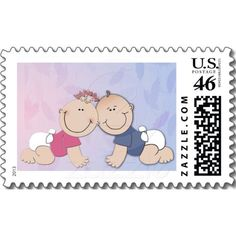 Boy and Girl Twin Theme Design Stamps