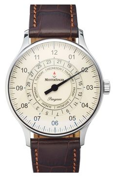 Vintage Watches Collection : MeisterSinger 'Pangaea Day Date' Automatic Single Hand Leather Strap Watch, - Watches Topia - Watches: Best Lists, Trends & the Latest Styles Amazing Watches, Beautiful Watches, Cool Watches, Watches For Men, Mens Watches Leather, Gentleman Watch, Junghans, Timex Watches, Hand Watch