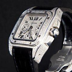 Cartier Santos 100 XL Chronograph Diamond Replica Watch WM500651