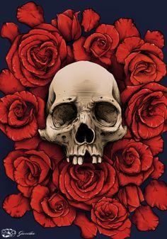 Skull and Roses by Rodrigo Lima