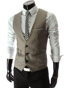 Amazon.com: TheLees Mens slim fit chain point 3 button vest: Clothing