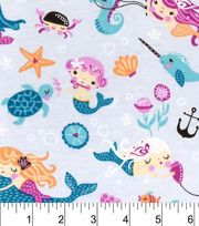 Snuggle Flannel Fabric-Mermaid Friends,