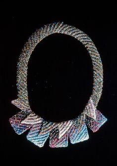 Elizabeth Tuttle, Shadow Collar; Crocheted cotton sewing thread with glass beads. 1982 to 1990 #crochet #art #fineart #fiberart #fibreart #textile #textileart #domesticlife #domesticart #conceptualart #design #beadwork #beading #jewelery #wearableart Conceptual Art, Textile Art, Wearable Art, Fiber Art, Pattern Design, Jewelery, Glass Beads, Beadwork, Beading