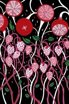 Swedish artist, illustrator and designer Petra Borner is well known for her beautiful cut paper collages, like the one below, called Pomegranate Tree. Textile Patterns, Print Patterns, Textiles, Petra, Art Curriculum, My Flower, Flowers, Japanese Prints, Pattern Illustration