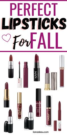 Best Deep Berry-Toned Lip Shades for Fall Fall/Autumn is all about dark berry toned lipstick shades to create a sultry and vampy look. Check out these dark lipsticks, both drugstore and high end, that are perfect to try for the fall/autumn season! Crayon Lipstick, Lipgloss, Lipstick Swatches, Fall Lipstick Drugstore, Best Drugstore Makeup, Best Makeup Products, Beauty Products, Dark Lipstick Shades, Dark Berry Lipstick