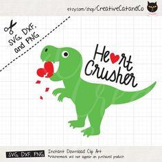 Dinosaur Love Heart SVG DXF Heart Crusher Dinosaur Funny, Baby, Kid, Dinosaur Valentines Day svg dxf Cut Files for Cricut Silhouette - Cricut valentines projects kids - Dinosaur Valentines, Valentine Gifts For Kids, Valentine Crafts, Valentine Ideas, Dinosaur Funny, Cricut Creations, Silhouette Projects, Illustration, Diy