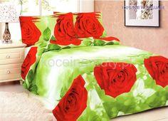 Pościel z bawełny satynowej w kolorze zielonym w czerwone róże