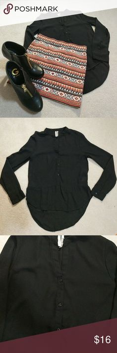Frenchi hi lo long sleeve black blouse Color: black  Size: XS Style: Hi-Lo Description/condition: classy sheer blouse with 3 front buttons and a button on each sleeve/ Pre-loved condition with no holes or stains  ❤️ Always open to offers/questions! Discount for 2+ bundle ❤️ Frenchi Tops Blouses