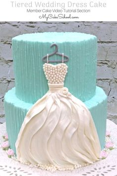 Tiered Buttercream Wedding Dress Cake Video Tutorial by MyCakeSchool.com! Perfect for Bridal Showers! (From MyCakeSchool.com's Member Cake Video Tutorial Section)