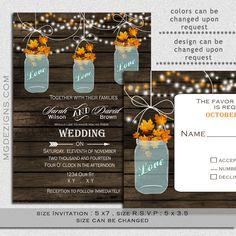 Printable Barnwood String of Lights Outdoor Barnyard rustic fall wedding invitation templates