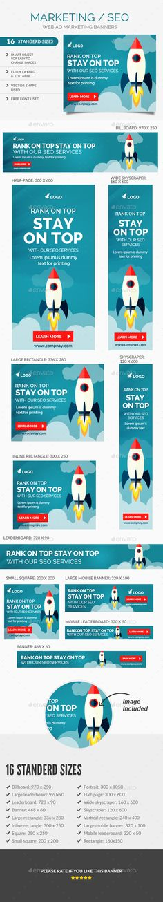 Seo Web Banners Template PSD #ad Download…
