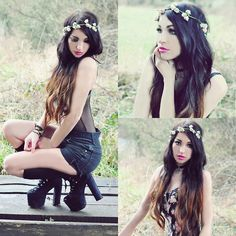 I dont care i just want flowers in my hair. (by KILLY NICOLE) http://lookbook.nu/look/4564289-I-dont-care-i-just-want-flowers-in-my-hair