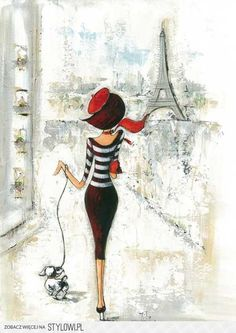 "Fashion Illustrations Parisian 'Girl' - Beautiful art print Vintage Parisian Print ""Je Taime"" Art Image Wall Decor UnframedPrint is Unframed x Ready for framing . Professionally printed on medium weight cardstock Art And Illustration, Decoupage, Tour Eiffel, I Love Paris, Paris Girl, Art Reproductions, Retro, Art Images, Art Nouveau"