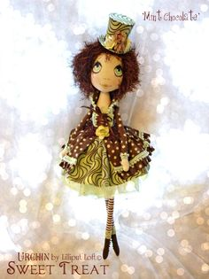 Mint Chocolate Urchin Art Doll by Vicki at Lilliput Loft