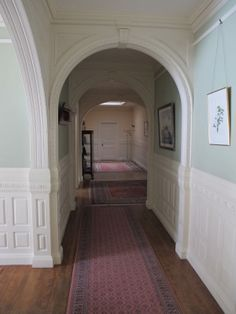 long hallway treatment at Vale house, Waltham - enfilade of archways