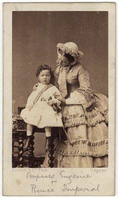 Eugénie, Empress of France (1826-1920), Wife of Napoleon III, Emperor of France and son Napoléon Eugène Louis Bonaparte (1856-1879)