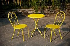 Small Space Scroll 3 Piece Chairs Table Outdoor Furniture Bistro Set Yellow Seats 3 ** Learn more by visiting the image link.