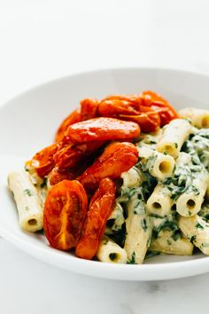 Zesty Vegan Cilantro Cream Pasta with Roasted Paprika Tomatoes / Recipe  http://ift.tt/2eF6gcH #Recipes #Food
