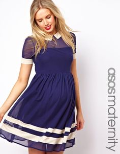 ASOS Maternity | ASOS Maternity Skater Dress In Mesh With Contrast Detail and Short Sleeves at ASOS