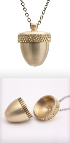 Brass Acorn Canister Locket Necklace