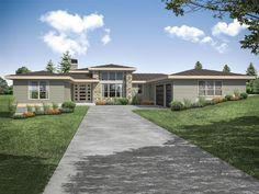 051H-0321: One-Story Contemporary House Plan Contemporary House Plans, Contemporary Style Homes, Ranch House Plans, New House Plans, Prairie Style Houses, Floor Framing, Ranch Style Homes, Great Rooms, New Homes