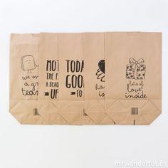 Pack sortido de 5 sacos kraft - Happy