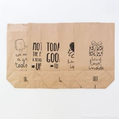 Lot de 5 sacs en papier kraft – Happy