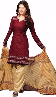Maroon Printed Mix Cotton Unstitch Churidar Salwar Suit