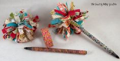 Washi Tape and fabric pom pom pens! Cute party favor