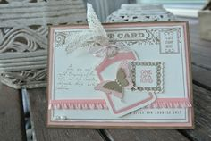 Very Vanilla, Baked Brown Sugar, Crisp Cantaloupe Ink: Baked Brown Sugar, Crisp Cantaloupe Stamp Sets: Postcards, Postage Collection (Hostess), Notable Notions, Papillion Potpourri Other: Chalk Talk framelits, Elegant Butterfly punch, Bitty Butterfly punch, Postage Stamp punch, Ruffle Trim Stretch Crisp Cantaloupe, Crochet Trim, Baker's Twine Calypso Coral, Pearl Basic Jewels