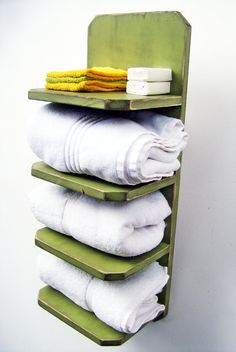 Bath towel holder - bathroom decor - wood towel rack - shabby, cottage chic finish - avocado green via etsy Room Under Stairs, Towel Holder Bathroom, Best Bath Towels, Small Bathroom, Bathroom Shelves, Bathroom Storage, Camper Bathroom, Bathroom Bath, Wood