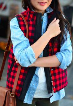 Coco & Simone - Crew Team Red & Black Puffer Vest