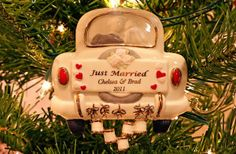 Cute Just Married Wedding Christmas Ornament
