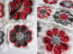 Mooie granny square 'Afrikaanse bloem'. Misschien ga ik hier een deken mee maken.