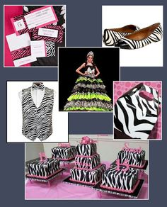 A zebra-themed Quinceañera celebration Quinceanera Themes, Quinceanera Invitations, Quinceanera Dresses, Bat Mitzvah Invitations, Party Invitations, Discount Wedding Invitations, Pink And White Dress, Quince Ideas, Party Cakes